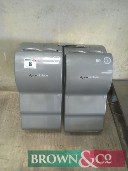 Pair of Dyson airblade hand driers