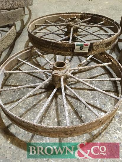 2 No. Wrought Iron wheels