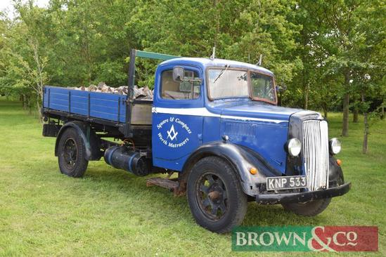 1951 Morris Commercial flat bed lorry with transit engine and gearbox. Reg No: KNP 533