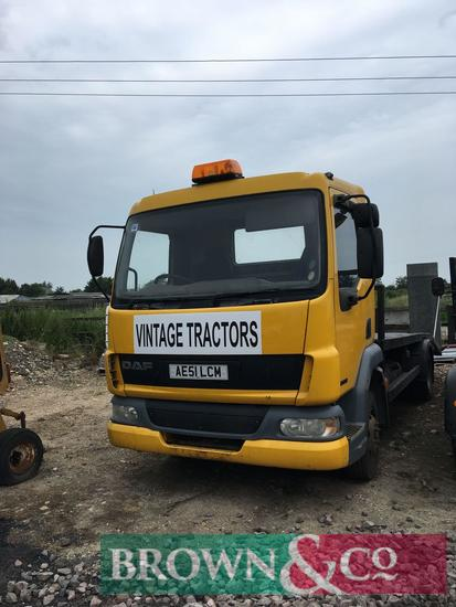 DAF 45.150 flat bed lorry with 24v winch and loading ramps. Reg No: AE51 LCM. Mileage: 219,477