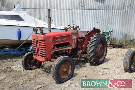 1968 International B275 2wd tractor with loader brackets on 11.2/28 rear wheels and tyres. Reg No: