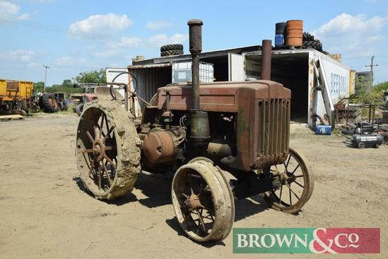 John Deere Model D 2wd petrol paraffin tractor with metal wheels