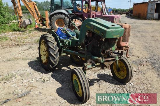 John Deere Model LA 2wd petrol paraffin tractor on 9-24 rear wheels and tyres. Serial No: 8,134. Non