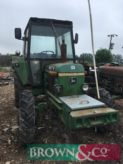 1976 John Deere 2130 4wd diesel tractor on 13.6R36 rear and 9.5R24 front wheels and tyres. Reg No: