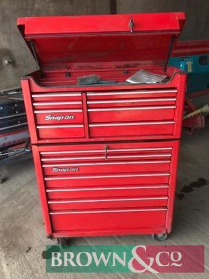 Used Snap-on tool chest with castors. Collection from Newlands, Southfields Farm, Colmworth,