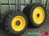 Set 14.9R30 & 14.9R46 row crop wheels to suit John Deere 7530 tractor. Collection from Newtoft,