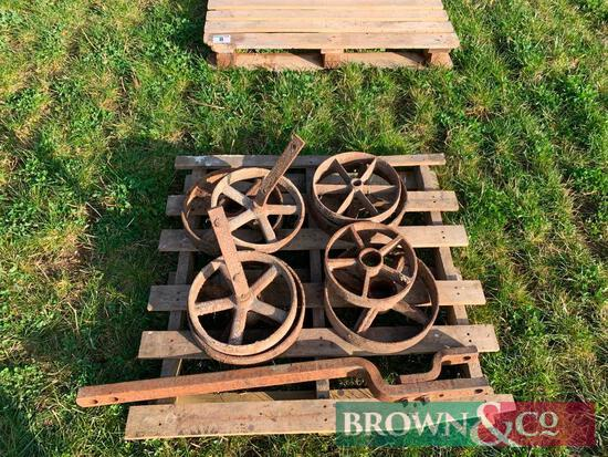 Qty Cast Iron Wheels and Drawbar