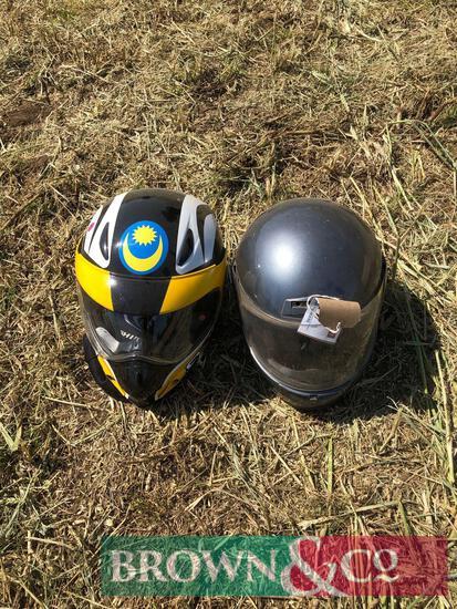 2No. motorcycle crash helmets