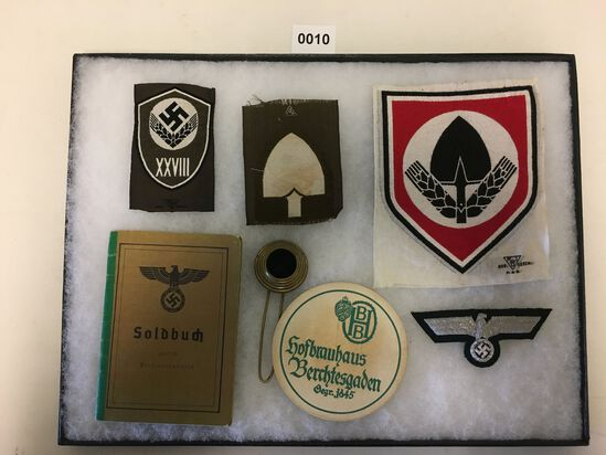 Soldbuch and Nazi eagle patch lot. All items in lot photos are included.