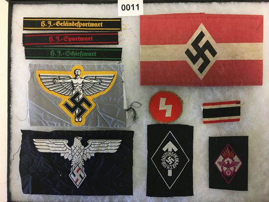 Hitler Youth armband and patch grouping. All items in lot photos are included.