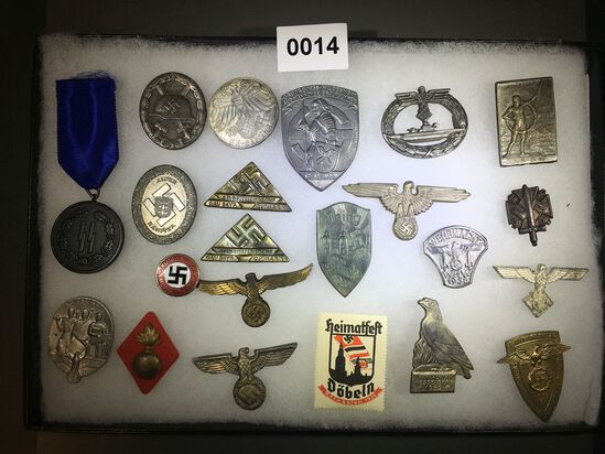 Submarine badge, eagle hat pins and SS medal