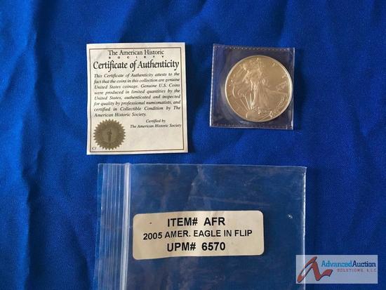 2005 American Eagle in flip Silver Dollar
