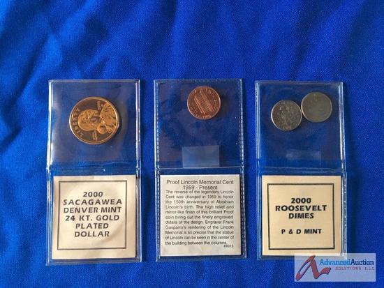 Sacagawea Dollar, Roosevelt Dime, Lincoln memorial cent