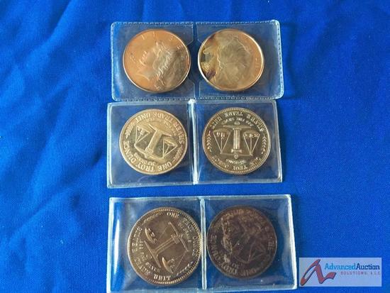 Six Silver trade units .999 Fine silver, 1 Troy ounce each