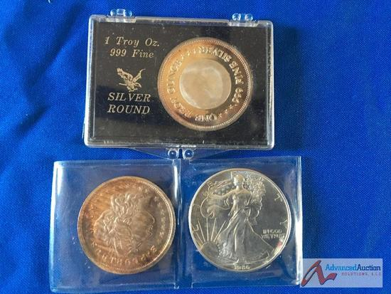 Silver Dollar and two Silver trade units