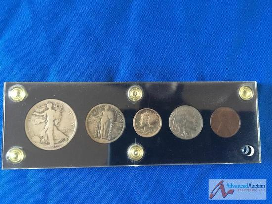 1920, Liberty Half Dollar, Liberty Quarter, Mercury Dime, Buffalo Nickel, Wheat Penny.