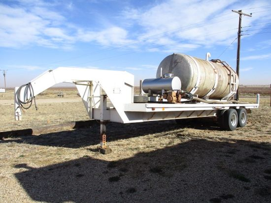 28' GOOSENECK TRAILER W/1,500 GAL FIBERGLASS TANK & PUMP, TRAILER MFG BY GOOSENECK TRAILER MFG COMPA