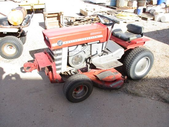 MASSEY-FERGUSON LAWN TRACTOR, 12-HP ENGINE, HYDRA SPEED, TRANSMISSION (NEEDS WORK)