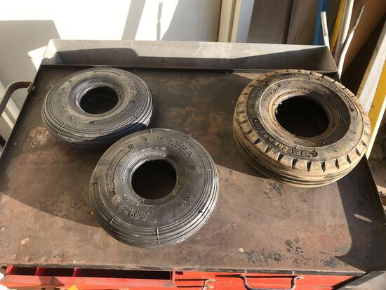 (2) NEW 2.50-3 TIRES & (1) 10 x 3.5 TIRE