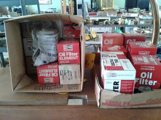 BOXES OF NEW OIL FILTERS