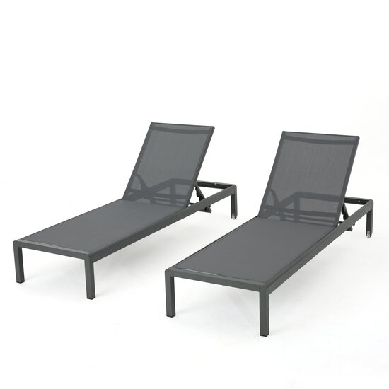 Crested Bay Patio Furniture | Outdoor Grey Aluminum Chaise Lounge with Dark Grey Mesh Seat (Set of 2