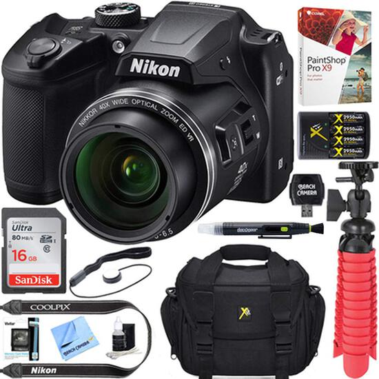 Nikon COOLPIX B500 16MP 40x Optical Zoom Digital Camera w/Built-in Wi-Fi NFC & Bluetooth (Black) + 1