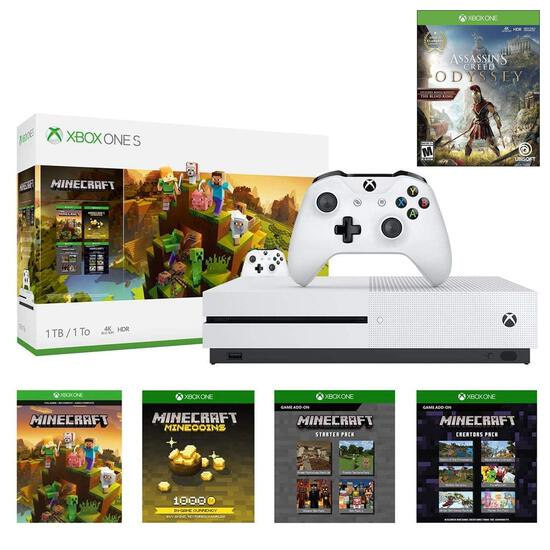 Xbox One S 1TB Minecraft Creators w/Assassin's Creed Odyssey Deluxe Bundle: 1TB Xbox One S White Con