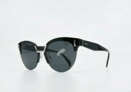 Prada Women's SPR04U SPR/04U 1AB/5S0 Black Fashion Round Sunglasses 43mm