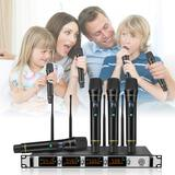 Nasum 4-channel Metal Uhf Wireless Microphone System,cordless Karaoke Microphone Set