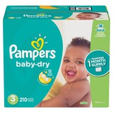 Pampers Baby Dry Disposable Diapers One Month Supply - Size 3 (210ct)