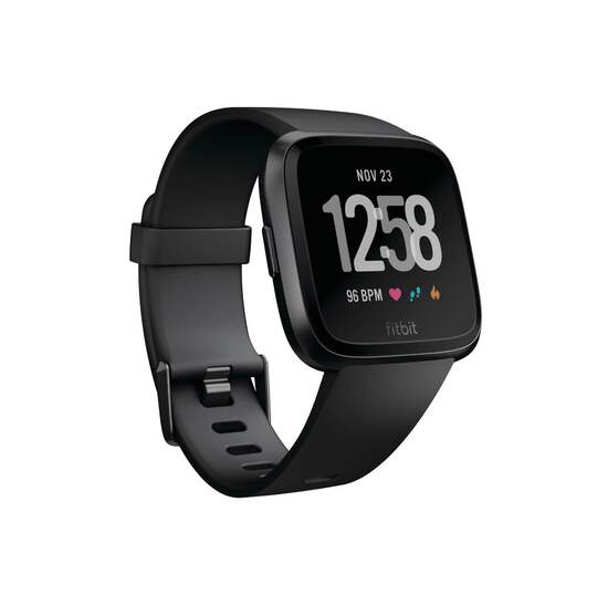 Fitbit Versa Smart Watch, Black/Black Aluminium, Small & Large band