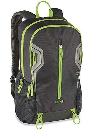 """Uline Daypack Backpack 11 x 19 x 7"""" Black Green"""