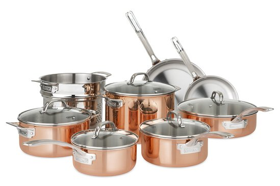 Viking Culinary 40571-9993C Copper Stainless Steel Cookware Set, 13 Piece