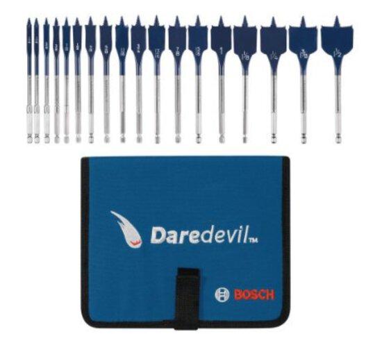 Bosch DSB5018P 18 Piece Full Thread Tip Speed Wave Daredevil Spade Bits (Includes Folding Case)