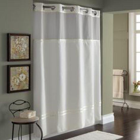 EZY Hang Chrome 71x77 Brown w/ Beige, Grey Shower Curtain