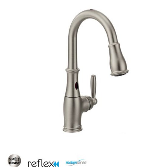 Moen 7185ESRS Brantford with MotionSense One-Handle High Arc Pulldown Kitchen Faucet