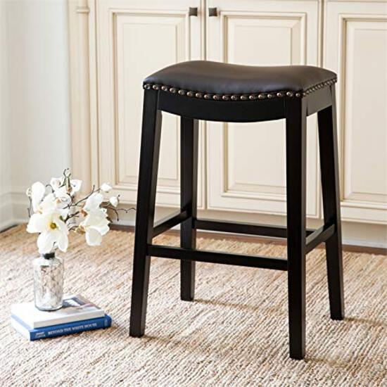 Abbyson Living Bonded Leather Saddle Bar Stool, Brown