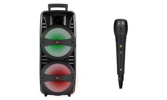 """QFX TWS 2 x 8"""" Portable Bluetooth Party Speaker with Microphone"""