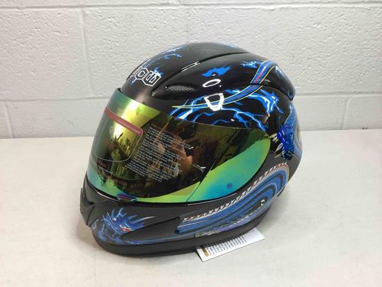 Motorcycle Full Face Helmet HJM A110 Adult Blue - size:Medium-Dragon Black