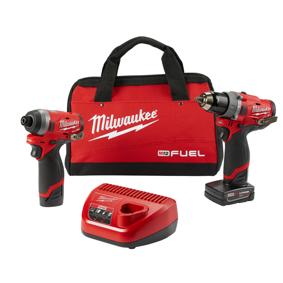 Milwaukee Electric Tools MLW2598-22 2 Piece M12 Fuel Kit- 0.5 in. Hammer Drill & 0.25 in. Impact