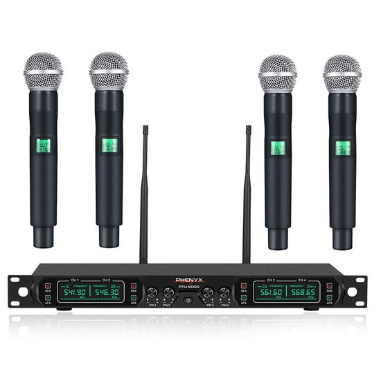 Phenyx Pro 4-Channel UHF Cordless Mic Set With Four Handheld Mics (PTU-5000A)