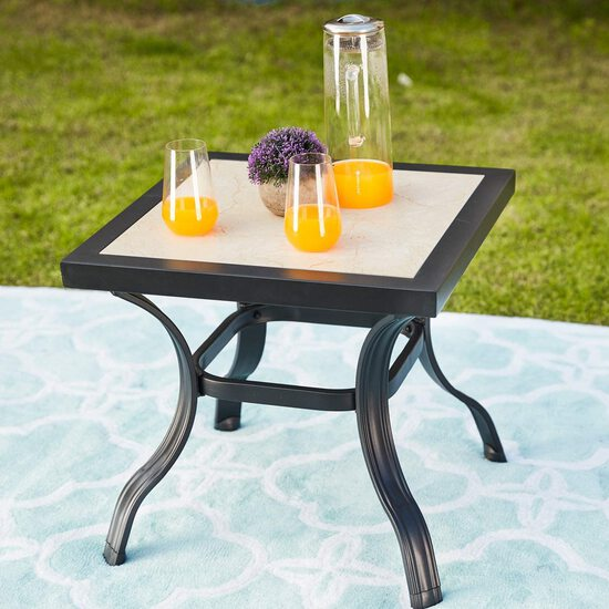Patio Festival ® Outdoor Steel Dining Table With Umbrella Black