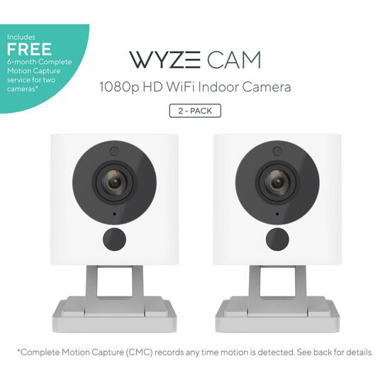 Wyze 1080p Cam HD Wi-Fi Indoor Smart Home Camera Night Vision, White