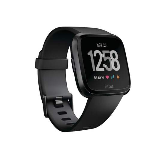 Fitbit Versa Smart Watch, Black/Black Aluminium, One Size