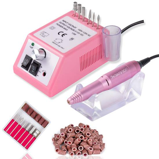 Electric Nail Drill Professional Nail File Drill Acrylic Nails Kit(Pink)