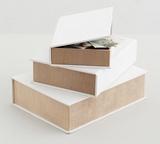 Fabric book Box White Set of 3