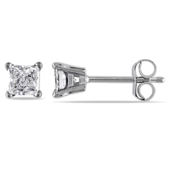 Delamore 1/2 CT TW Princess Cut Solitaire Diamond Earrings