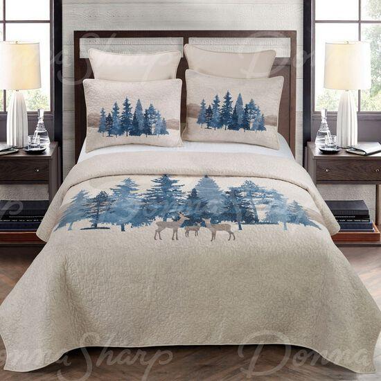 Donna Sharp Watercolor Forest Quilt Set, Beige/Green, Full/Queen