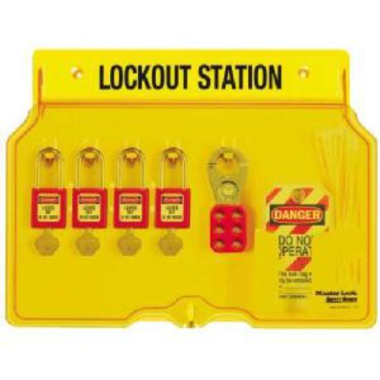 Master Lock 4-Padlock Capacity Lockout Station with Cover, Includes 4 Zenex Padlocks
