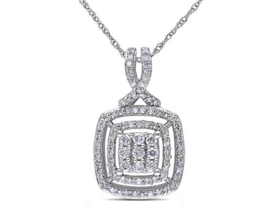Delamore 1/2 CT Diamond TW Pendant, 10k White Gold